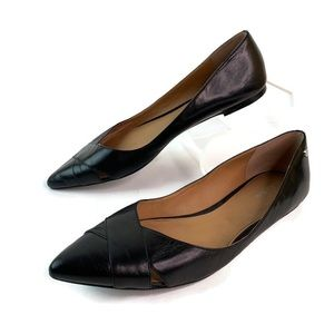 Calvin Klein Black Leather Pointed Toe Flat Shoes